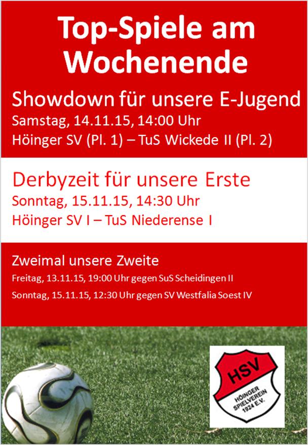 Plakat Top-Spiele 13 bis 15 Nov